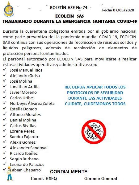 BOLETIN N° 74 PERMISO DE MOVILIDAD PERSONAL INTERNO
