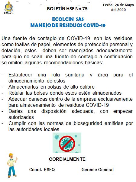 BOLETIN N° 75 MANEJO DE RESIDUOS COVID-19