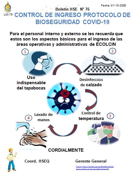 BOLETIN N° 76 CONTROL DE INGRESO PROTOCOLO DE BIOSEGURIDAD COVID-19