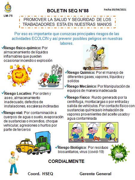BOLETIN N°88 RIESGOS DE NUESTRAS ACTIVIDADES