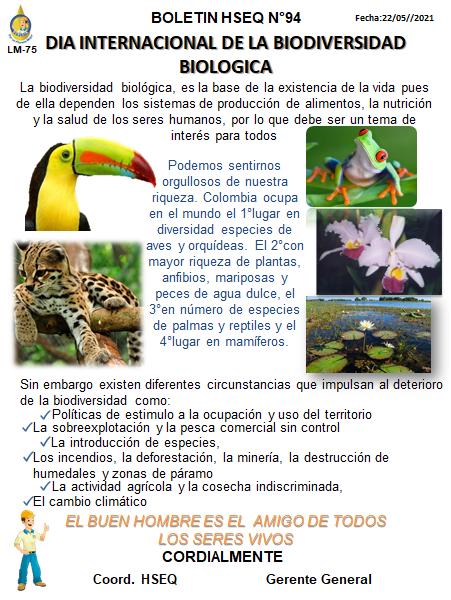 BOLETIN N° 94 DIA INTERNACIONAL DE LA BIODIVERSIDAD BIOLOGICA